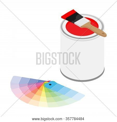 Metal Paint Can With Red Paint, Paintbrush And Color Palette Samples Isometric View Vector