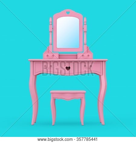 Antique Bedroom Vanity Pink Table With Stool And Mirror In Duotone Style On A Blue Background. 3d Re