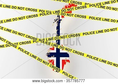 Norway Crime Concept, Police Investigation. 3d Map Of Norway. Map Of Norway Border With Flag. 3d Ren
