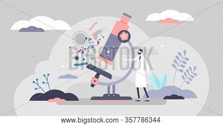Microscopy Vector Illustration. Organisms Closeup Scene In Flat Tiny Persons Concept. Biological Stu