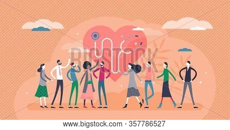 Public Health Vector Illustration. Overall Society Health Control Flat Tiny Persons Concept. Disease