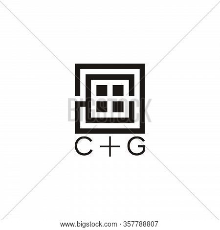 Abstract Letter Cg Square Window Geometric Line Logo Vector