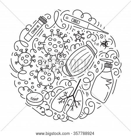 Novel Coronavirus 2019-ncov Vector Doodles Illustration. Round Design With Hand Drawn Elements Such