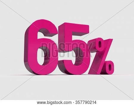 3d Render: Red 65% Percent Discount 3d Sign on Light Background, Special Offer 65% Discount Tag, Sale Up to 65 Percent Off, Sixty-five Percent Letters Sale Symbol, Special Offer Label, Sticker, Tag