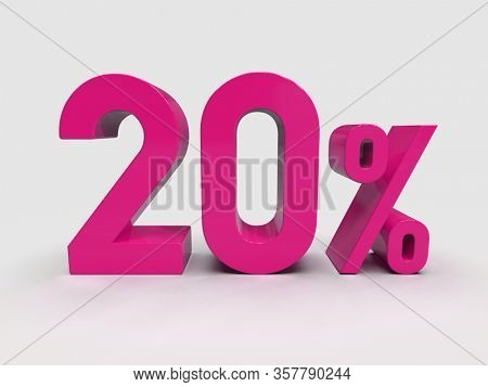 3d Render: Red 20% Percent Discount 3d Sign on Light Background, Special Offer 20% Discount Tag, Sale Up to 20 Percent Off, Twenty Percent Letters Sale Symbol, Special Offer Label, Sticker, Tag