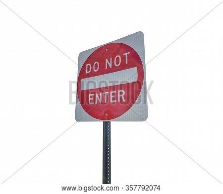 Red Traffic Sign Wrong Way. No Entry Wrong Way Go Back Road Sign
