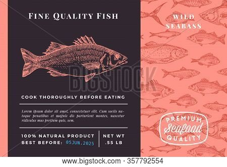 Premium Quality Seabass Abstract Vector Packaging Design Or Label. Modern Typography And Hand Drawn