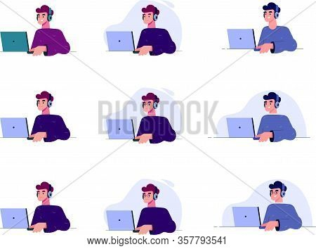 Young Man Works At A Computer Vector