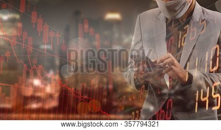 Businessman Using Phone Analyzing Data. He Paranoid World Of Economy Finance Stock Graph And Marketi