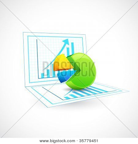 illustration of pie chart on bargraph sketch poster