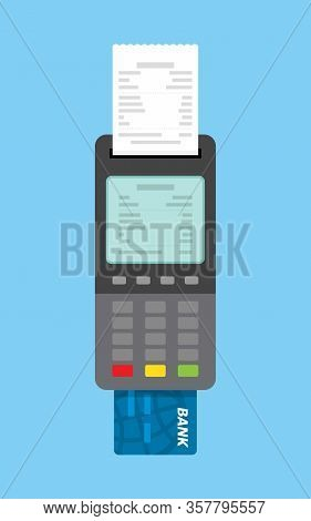 Pos Terminal Icon In Flat Style. Payment Using Pos Machines For Credit And Debit Cards. Secure Payme