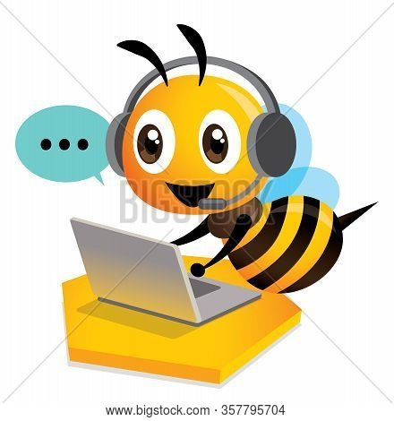 Cute Bee Customer Service Operator With Bubble Talk. Cute Bee Wearing Headset Using Computer Laptop