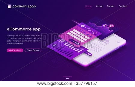 Ecommerce App Banner. Mobile Payment Concept. Vector Landing Page Of Online Shopping With Isometric