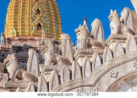 Details Of Ananda Temple In Bagan, Myanmar. This Buddhist Temple Was Built In 1105 Ad, And Is Said T