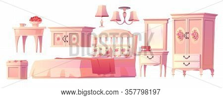 Shabby Chic Interior Set For Bedroom Isolated On White Background. With Bed, Nightstand, Fireplace A