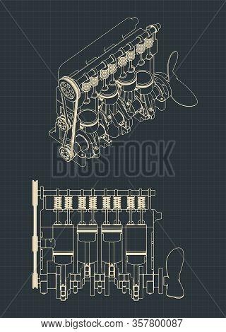 Diesel Engine Cutaway Drawings