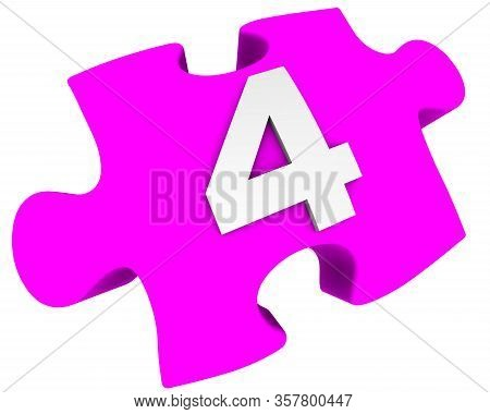 The Number Four. Puzzle Element. The White Number 4 (four) On One Pink Puzzle Element. Isolated. 3d