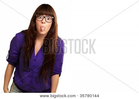Crazy Woman With Stick Out Tongue Isolated On White Background