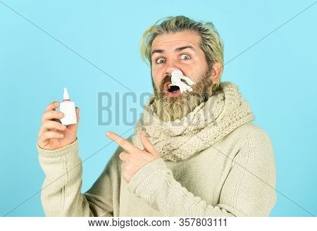 Cold Flu Remedies. Runny Nose Recovery. Health Care Concept. Runny Nose And Symptoms Of Cold. Fast R