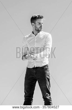 Handsome Man Fashion Model. Sexy Macho Man. Heat Season. Formal Fashion. Formal Style. Attractive Ma