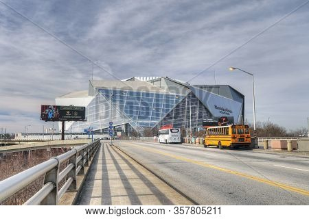 Atlanta, Georgia/united States- January 8, 2020: A View Of Mercedes-benz Stadium, Home To Nfl Atlant
