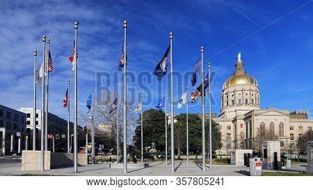 Atlanta, Georgia/united States- January 8, 2020: The Georgia Capitol Building With Flags In Atlanta