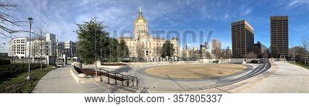 Atlanta, Georgia/united States- January 8, 2020: A Panorama Of Georgia Capitol Building In Atlanta I