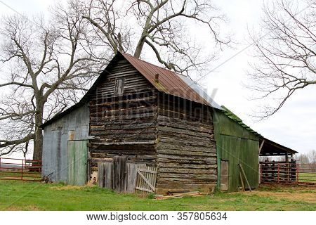 An Old Moss Covered Abandoned Farm Country Barn