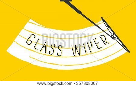 The Wiper Cleans The Windshield Car Glass From Rain And Snow On A Colored Background. Check Wiper Wi