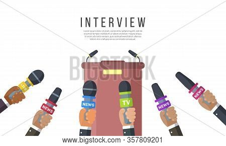 Interviews Are Journalists Of News Channels And Radio Stations.microphones In The Hands Of A Reporte
