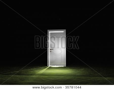 Partly closed door emits light
