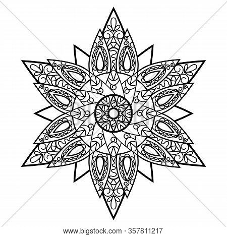 Black And White Vector Mandala On White Background. Zen Adult Coloring Page. Oriental Mandala Orname