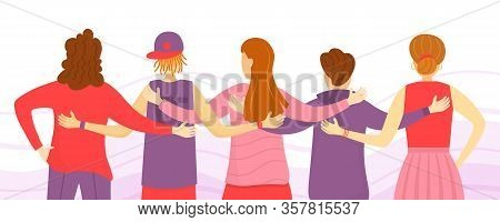 Back View Of Friends Man And Woman Standing Together,embracing Each Other,waving Hands.people From T