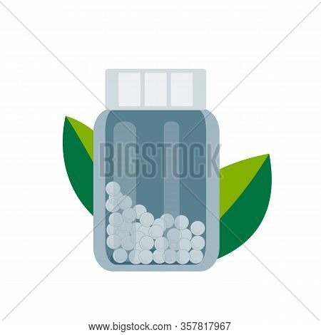 Bottle With Gomeophatic Granules. Homeopathic And Herbal Pills, Vector Illustration