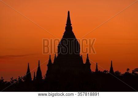 Scenic Sunrise Over A Bagan Temple, Myanmar
