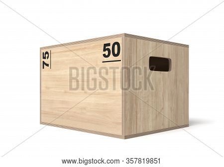 3d Rendering Of Light Brown Crossfit Box With Black Size Markers And Handle Holes, Standing On White