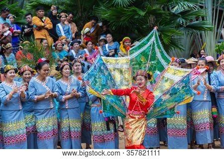Thoet Thai, Chiang Rai - Thailand, December 12, 2018 : Group Of Shan Or Tai Yai (ethnic Group Living