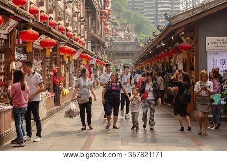 Chongqing, China - May 10, 2019 : Hongya Cave Interior Traditional Chinese Style Walking And Shoppin