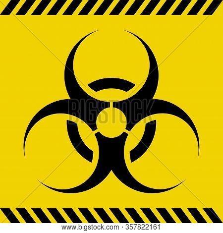 Biohazard Warning Sign, Simple Flat Vector Illustration  Of Virus Or Radiation Hazard Symbol