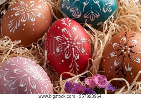 Detail Of Colorful Easter Eggs Decorated With Wax