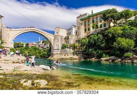 Mostar, Bosnia And Herzegovina - September 11, 2018: Sightseeing In Bosnia And Herzegovina. The Old