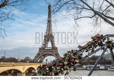 View On The Famous Paris Eiffel Tower From The Promenade Of The Seine .