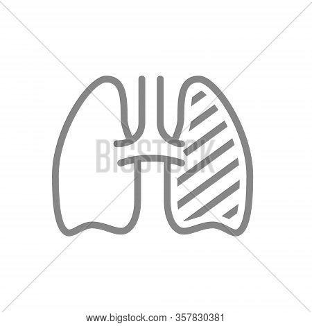 Sore Human Lung Line Icon. Respiratory Illness, Infected Organ, Pulmonary Edema, Pneumonia Symbol