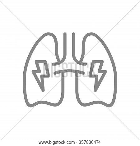 Lungs With Acute Pain Line Icon. Danger Of Lung Disease Symbol