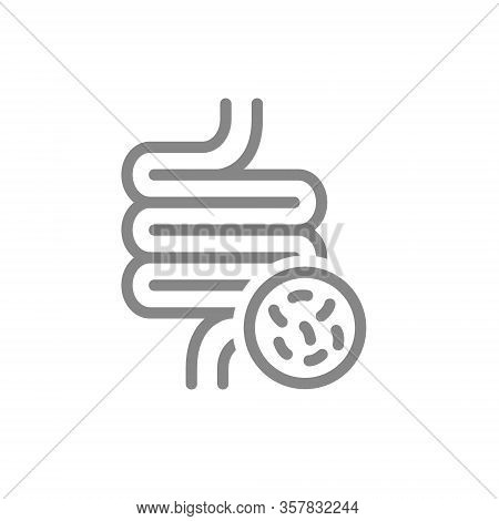 Intestine With Bacteria Line Icon. Irritable Bowel Syndrome, Constipation, Intestinal Obstruction Sy