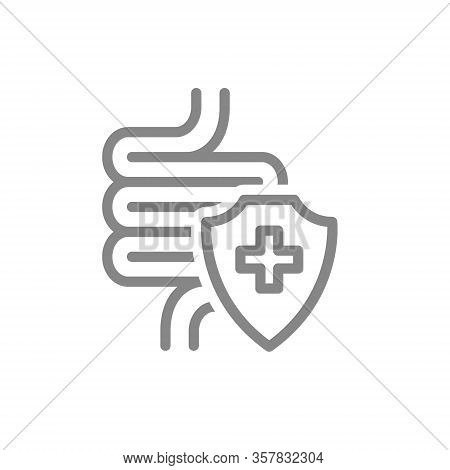 Healthy Protected Intestine Line Icon. Digestive Tract Treatment, First Aid For Bowel Diseases Symbo