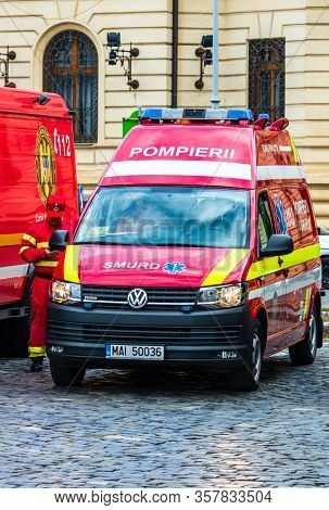 Romanian Smurd Ambulance Car, 911 Or 112 Emergency Medical Service In Mission In Downtown Bucharest,