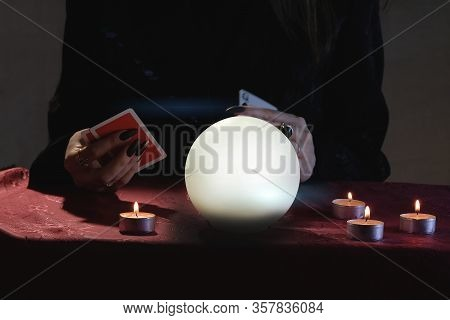 Mental Readings And Clairvoyance Concept. Fortune Telling On Crystal Balls And Cards