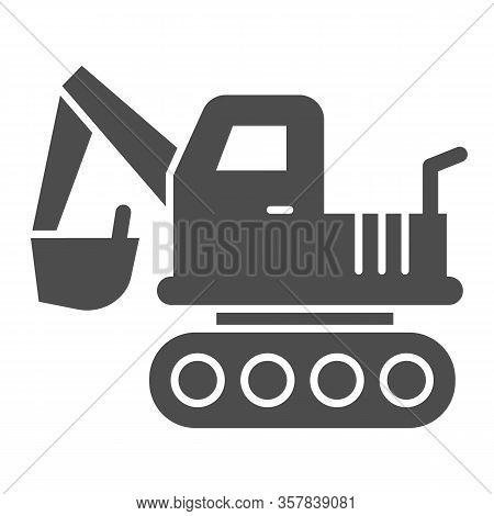 Excavator Vehicle Solid Icon. Crane Forklift Loader And Digger Truck Symbol, Glyph Style Pictogram O