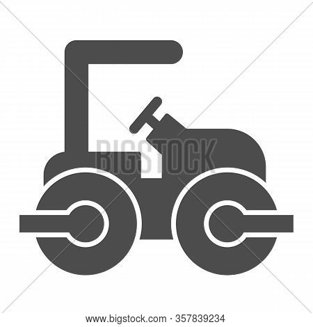 Road Paver Truck Solid Icon. Roller Heavy Vehicle For Laying Asphalt Symbol, Glyph Style Pictogram O